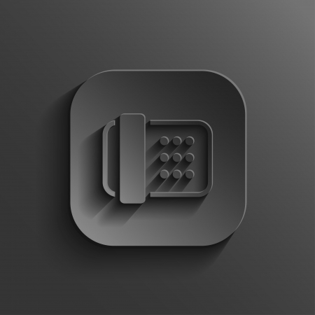 fax machine: Fax machine icon - vector black app button with shadow Illustration