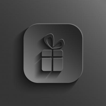 Gift icon - vector black app button with shadow Vector