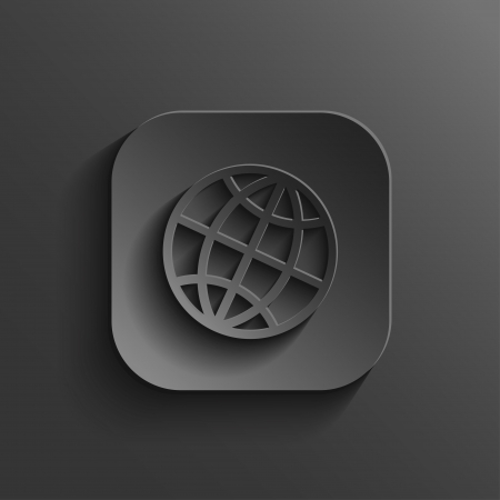 Globe icon - vector black app button with shadow
