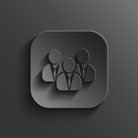 office buttons: User group network icon - vector black app button with shadow