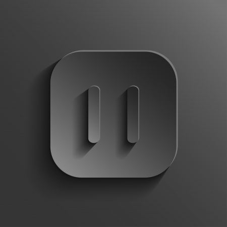 Pause icon - media player icon - vector black app button with shadow Stock Vector - 20989018