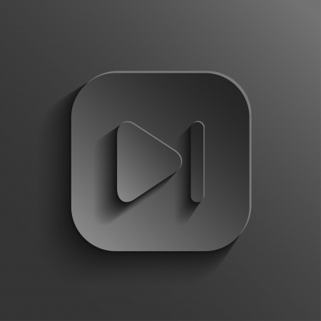 audio video: Media player icon - vector black app button with shadow Illustration