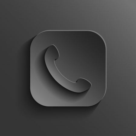 telephone receiver: Phone icon - vector black app button with shadow