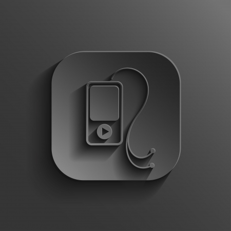 mp3 player: MP3 player icon - vector black app button with shadow Illustration