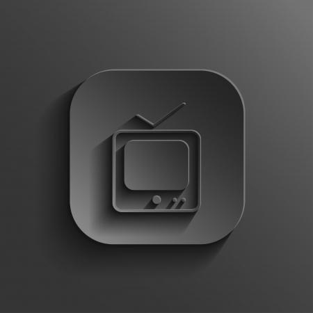 антенны: Значок ТВ - векторные кнопки черный приложение с тенью