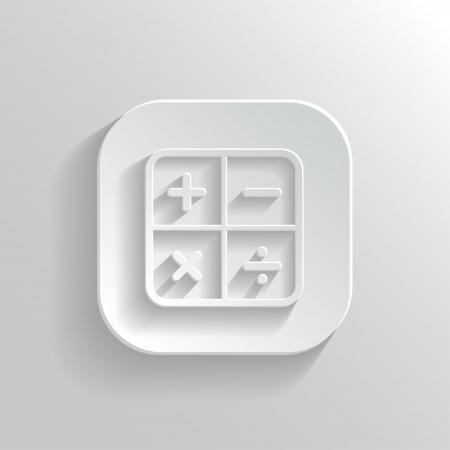 Calculator icon - vector white app button with shadow Stock Vector - 20989057