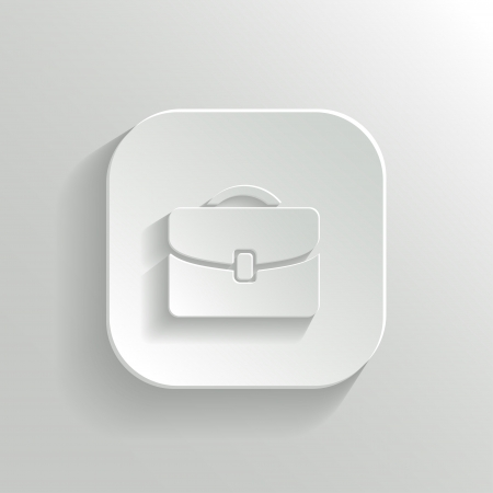 Briefcase icon - vector white app button with shadow Vector