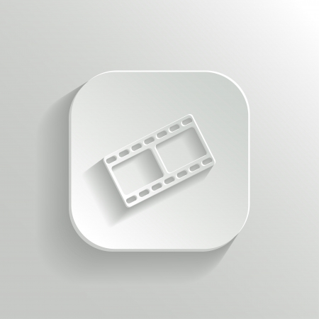 Film icon - vector white app button with shadow Vector