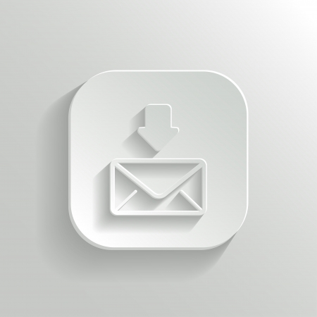 mms: Mail icon - vector white app button with shadow