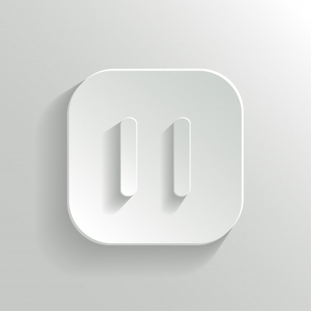 pause button: Pause icon - media player icon - vector white app button with shadow
