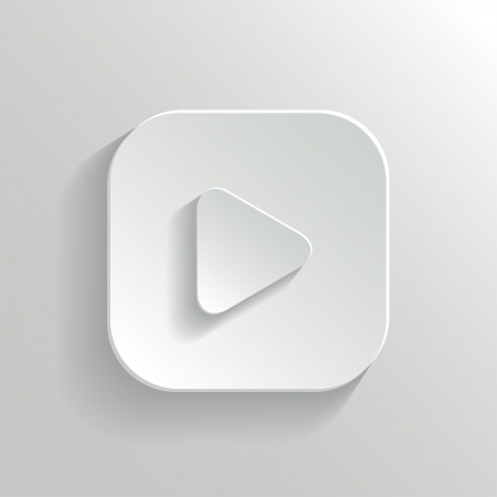 Play icon - media player icon - vector white app button with shadow Vector