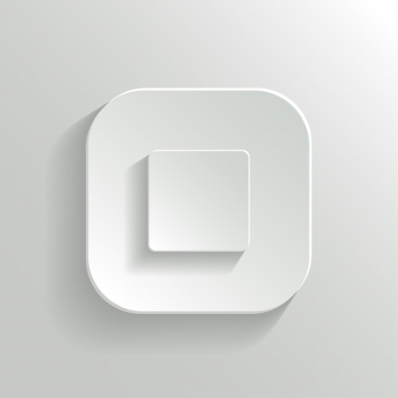 Stop - media player icon - vector white app button with shadow Vector
