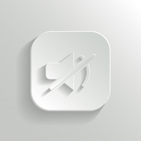 Mute icon - vector white app button with shadow Vector
