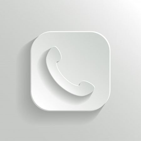Phone icon - vector white app button with shadow Vector