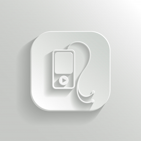 MP3 player icon - vector white app button with shadow Vector