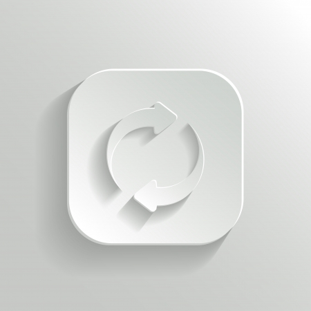 navigation buttons: Refresh icon - vector white app button with shadow Illustration