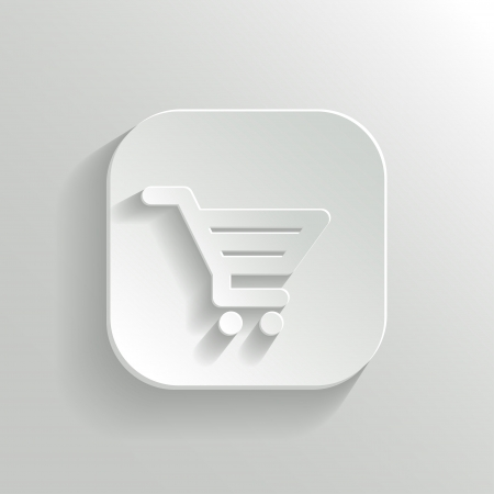 cart icon: Shopping cart icon - vector white app button with shadow Illustration