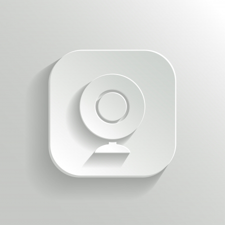 Webcamera icon - vector white app button with shadow Vector