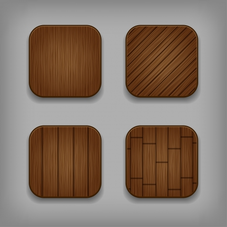 application icons: Vector glossy wooden app buttons set