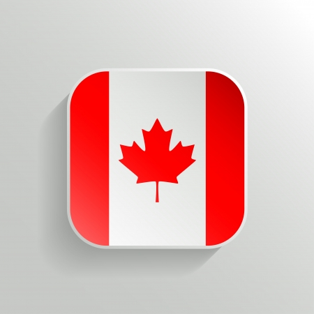 Vector Button - Canada Flag Icon on White Background Vector