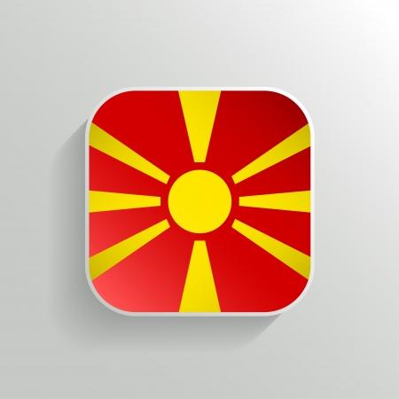 macedonia: Vector Button - Macedonia Flag Icon on White Background Illustration