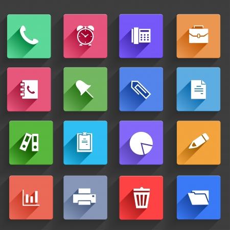 Vector de aplicaciones de oficina y negocios Conjunto de iconos de diseño plano con largas sombras Ilustración de vector