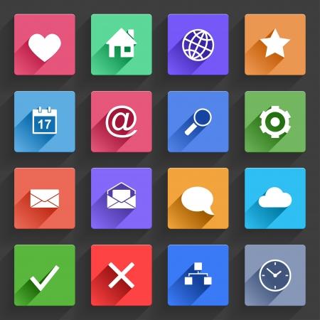 ICONO: Aplicación del vector Conjunto de iconos Web de diseño plano con largas sombras Vectores