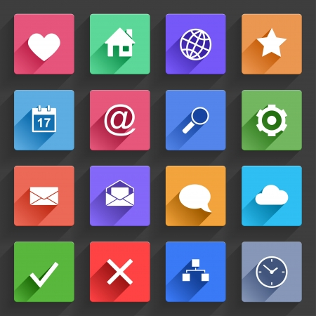 web mail: Vector Application  Web Icons Set in Flat Design with Long Shadows Illustration