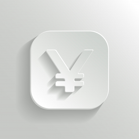 yen: Yen Icon on White Button. Vector Money Symbol.