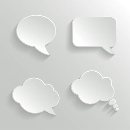 Abstract Vector White Speech Bubbles Set Vector