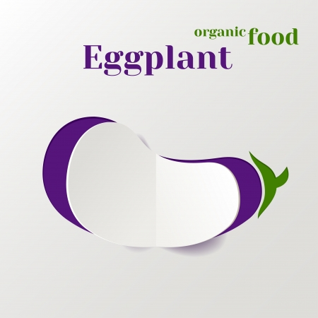 aubergine: Abstract Vector Background with Paper Eggplant, Concept Organic Food