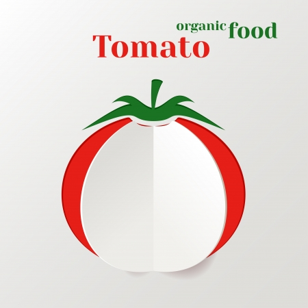 salat: Abstract Vector Background with Paper Tomato, Concept Organic Food Illustration