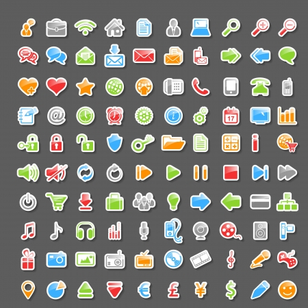Vector Set of 100 Glossy Sticker Icons Vector