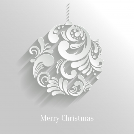 Abstract White Floral Christmas Ball, creative vector illustration Vector