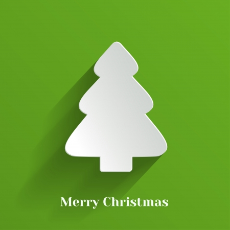 Creative White Christmas Tree on Green Background  Vector Illustration  Иллюстрация
