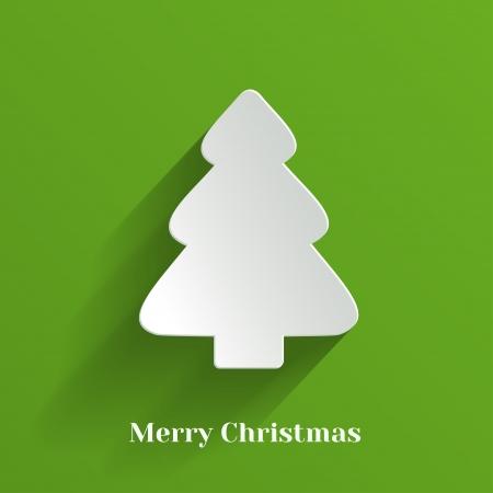 Creative White Christmas Tree on Green Background  Vector Illustration Stock Vector - 22125589