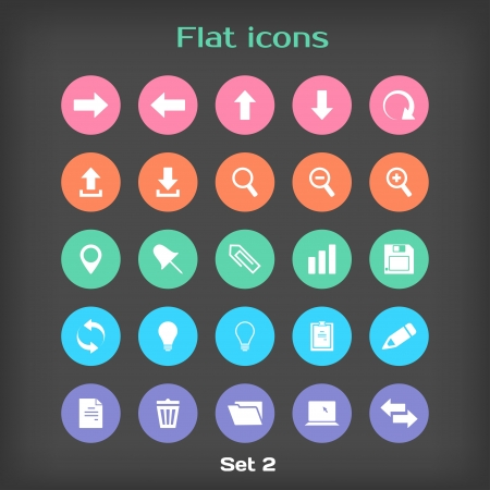 plus minus: Vector Round Flat Icon Set