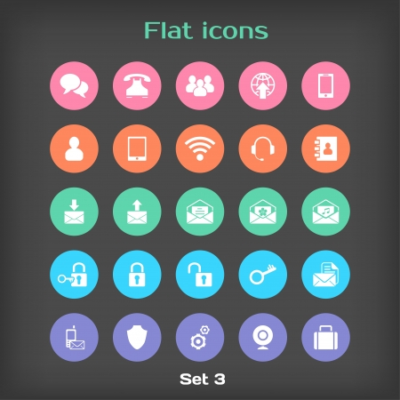 contacts group: Vector Round Flat Icon Set