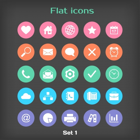 Vector Round Flat Icon Set Vector