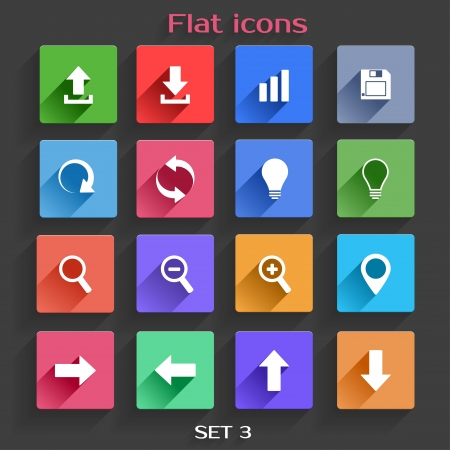 save button: Vector Application  Web Navigation Icons Set in Flat Design with Long Shadows