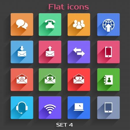 telecomunicaci�n: Aplicaci�n Vector Icons Set Comunicaci�n en Dise�o plano con Long Shadows