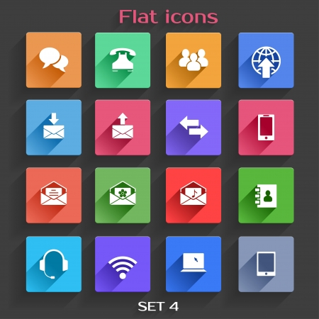 communication icons: Vector Application  Communication Icons Set in Flat Design with Long Shadows