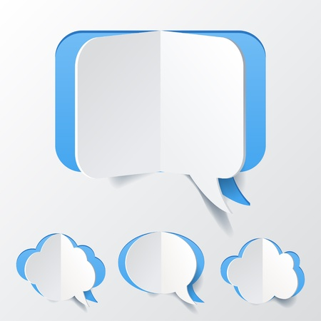 Abstract Blue Speech Bubble Set Cut of Paper Vector
