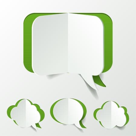 Abstract Green Speech Bubble Set Cut of Paper