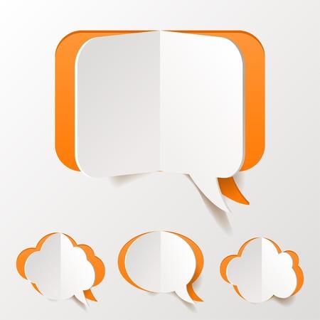 マンガの吹き出し: オレンジ色の演説抄録バブル紙のカットの設定