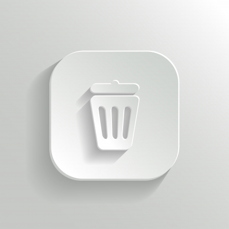 Trash can icon - vector white app button Vector