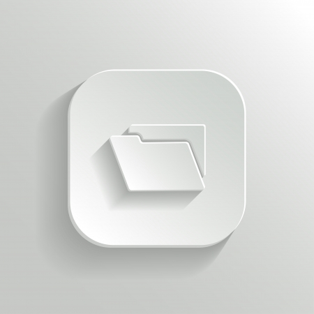 folder icon: Folder icon - vector white app button with shadow
