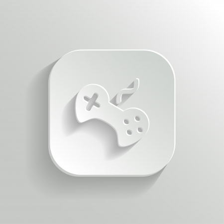 Video game icon - vector white app button with shadow Vector