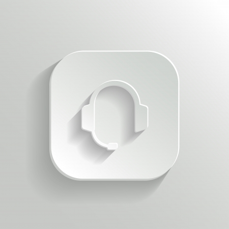 media center: Headphones with microphone icon - vector white app button with shadow