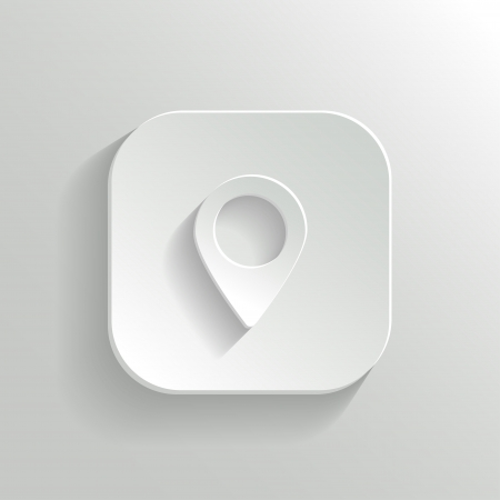 Map pointer icon - vector white app button with shadow Vector